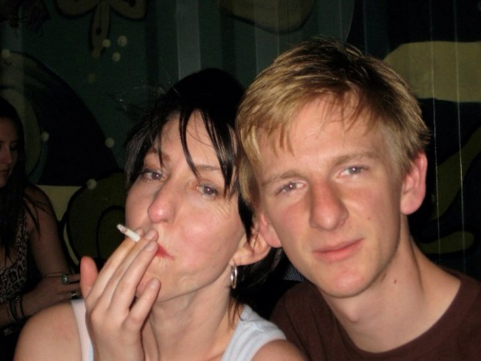 Partying on our last night of Art School - Back when we both smoked, and were still just mates who shared a studio space.